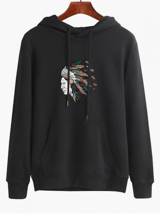 unique Tribal Headdress Print Drawstring Hoodie - BLACK M