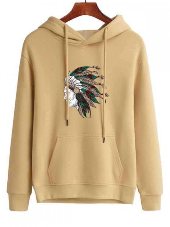 women's Tribal Headdress Print Drawstring Hoodie - DARK ORANGE M