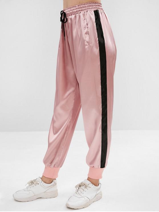 shop Satin Drawstring Pocket Jogger Pants - PINK S