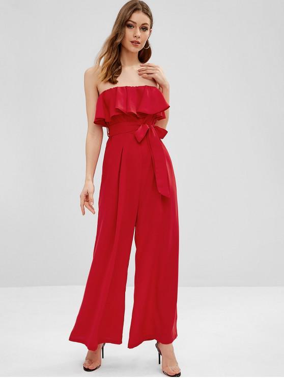 shops Ruffles Bandeau Jumpsuit - RED M