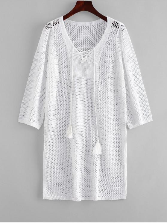 Tassels Lace-up Crochet Dress - Branco Um Tamanho