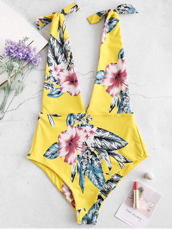 trendy ZAFUL Flower Plunging Tied Bralette Swimsuit - MULTI XL