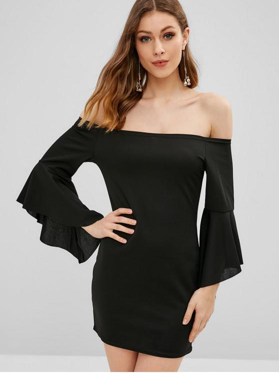 latest Bell Sleeve Off Shoulder Mini Bodycon Dress - BLACK M