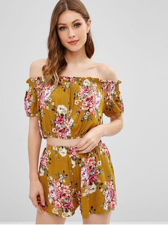 latest Cropped Off Shoulder Floral Top And Shorts Set - BEE YELLOW M