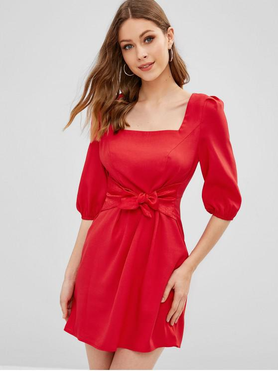latest ZAFUL Square Neck Tie Waist A Line Mini Dress - RUBY RED S