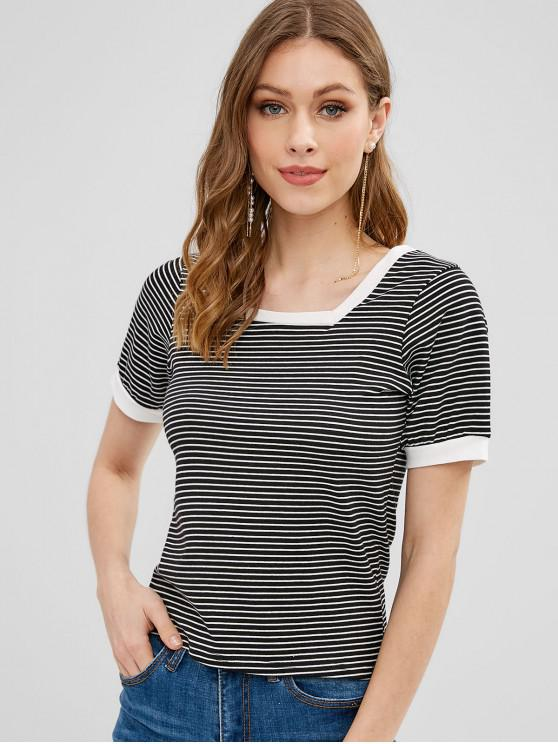 women's Striped Square Neck Ringer Tee - MULTI ONE SIZE