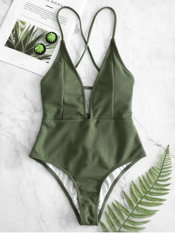 unique ZAFUL Lace-up Crisscross Ribbed Swimsuit - CAMOUFLAGE GREEN M