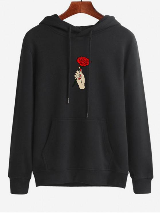latest Hand Holding Rose Printed Hoodie - BLACK M