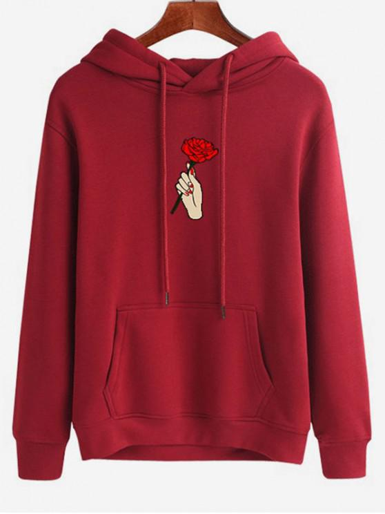fashion Hand Holding Rose Printed Hoodie - RED WINE M