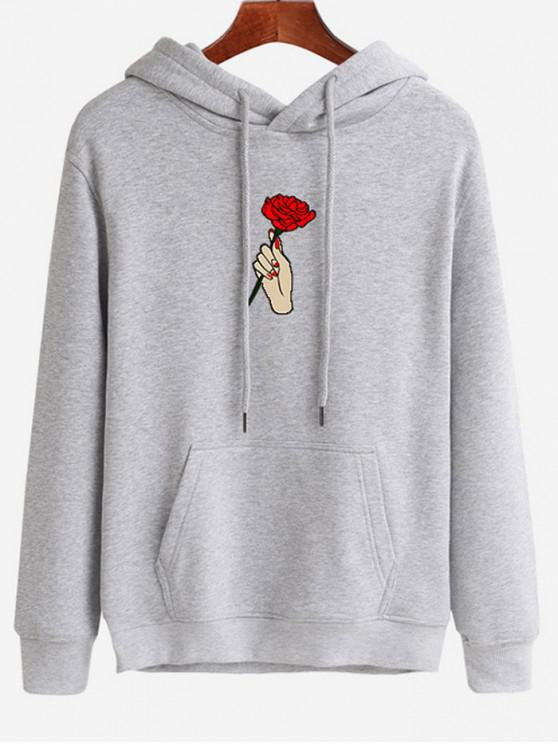 fancy Hand Holding Rose Printed Hoodie - PLATINUM M