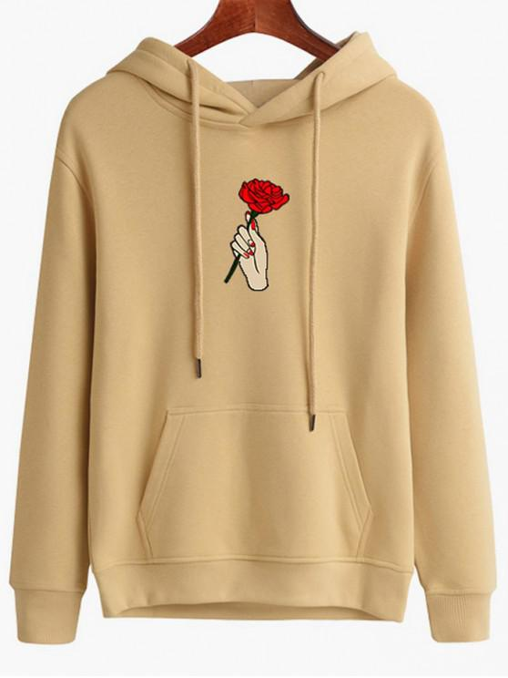 sale Hand Holding Rose Printed Hoodie - LIGHT SALMON M