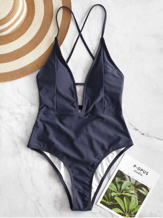 womens ZAFUL Lace-up Criss Cross Swimsuit - JET GRAY L