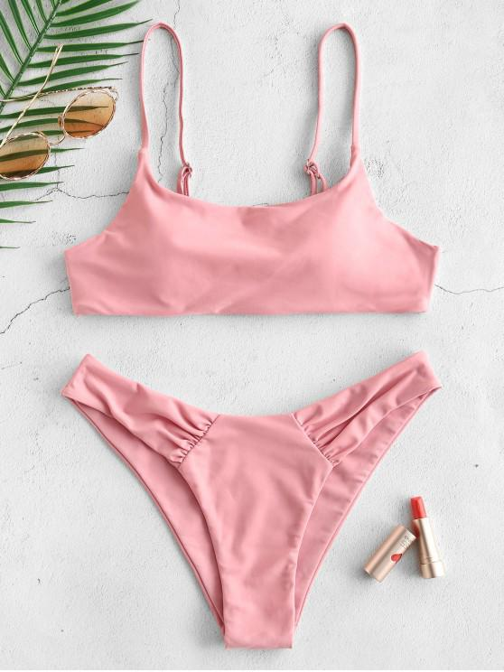 womens ZAFUL Ruched Bralette Bikini Set - PINK S