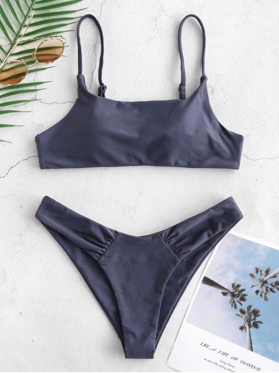 affordable ZAFUL Ruched Bralette Bikini Set - SLATE GRAY M