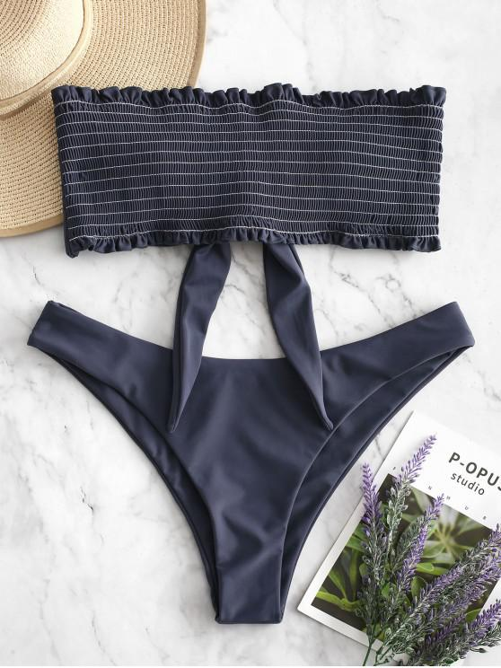 online ZAFUL Frilled Knot Smocked Bikini Set - JET GRAY M