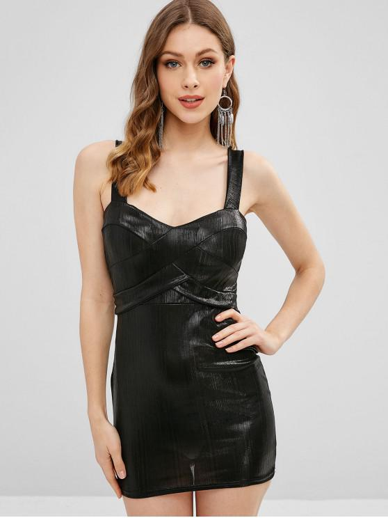 unique Padded Shiny Sheath Dress - BLACK M
