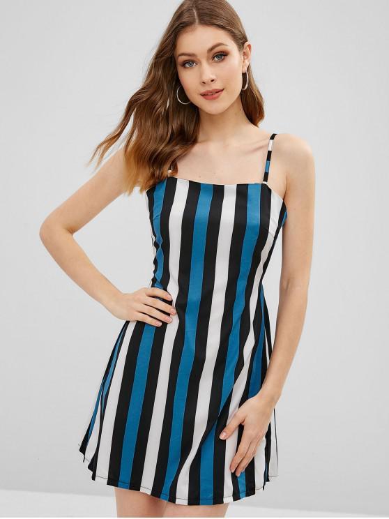 shop ZAFUL Stripes Knotted Cami Dress - BLUE M