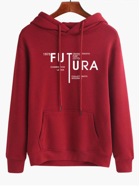 new Casual Letter Hoodie - RED WINE M