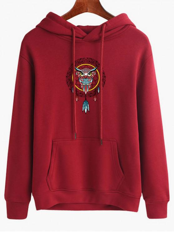 affordable Owl Dreamcatcher Print Pullover Hoodie - RED WINE M