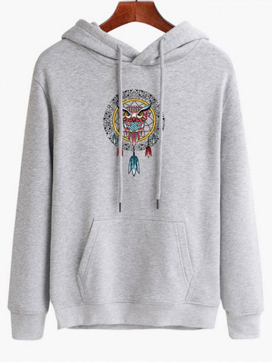 womens Owl Dreamcatcher Print Pullover Hoodie - PLATINUM M