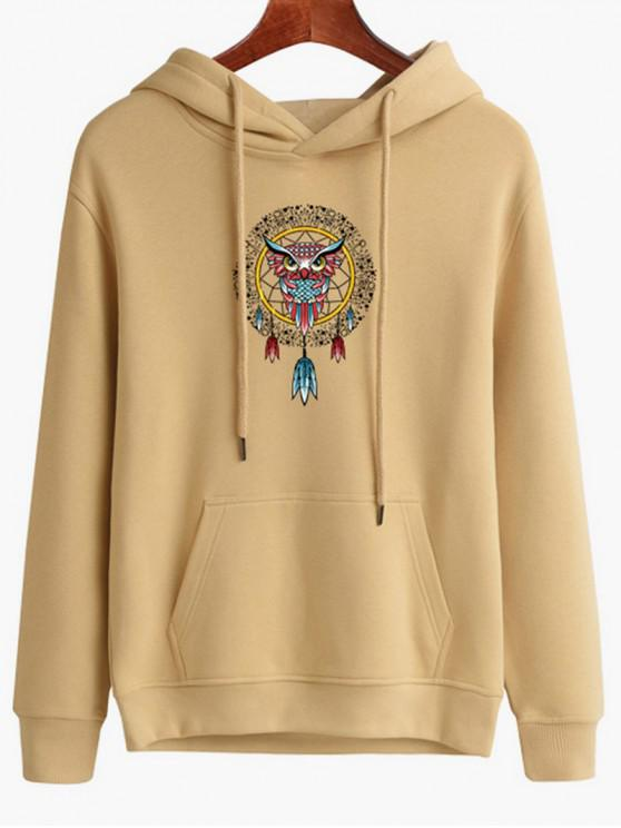 women's Owl Dreamcatcher Print Pullover Hoodie - LIGHT SALMON M
