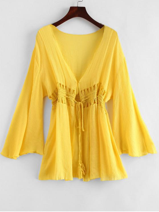 chic Tie Tassels Crochet Panel Cover-up - MUSTARD ONE SIZE