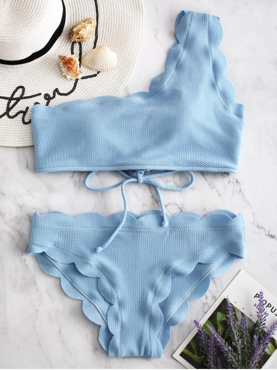 hot ZAFUL One Shoulder Scalloped Bikini Set - LIGHT SKY BLUE L