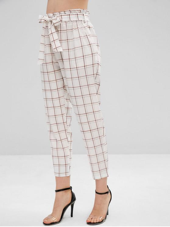 latest High Rise Belted Plaid Paperbag Waist Pants - WHITE L