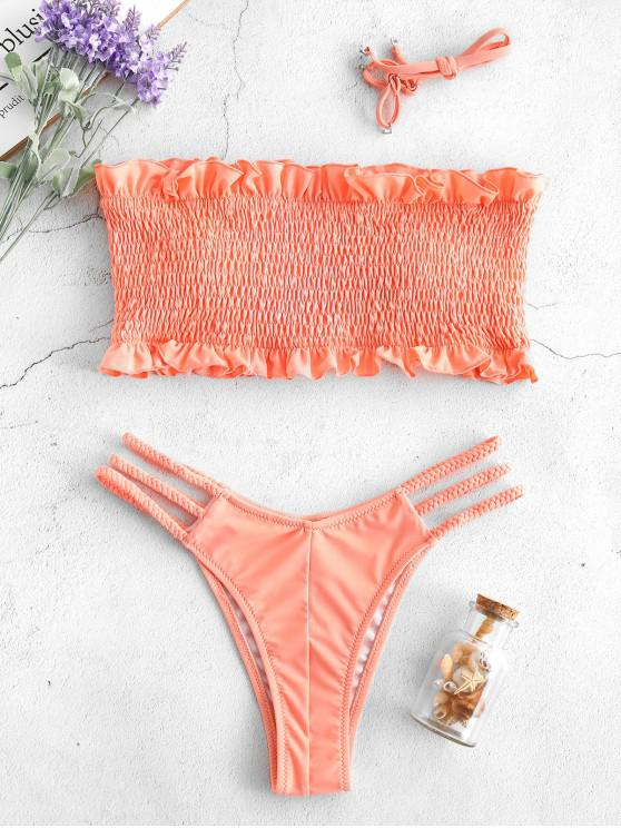 new ZAFUL Ruffles Braided Smocked Bikini Set - LIGHT SALMON S