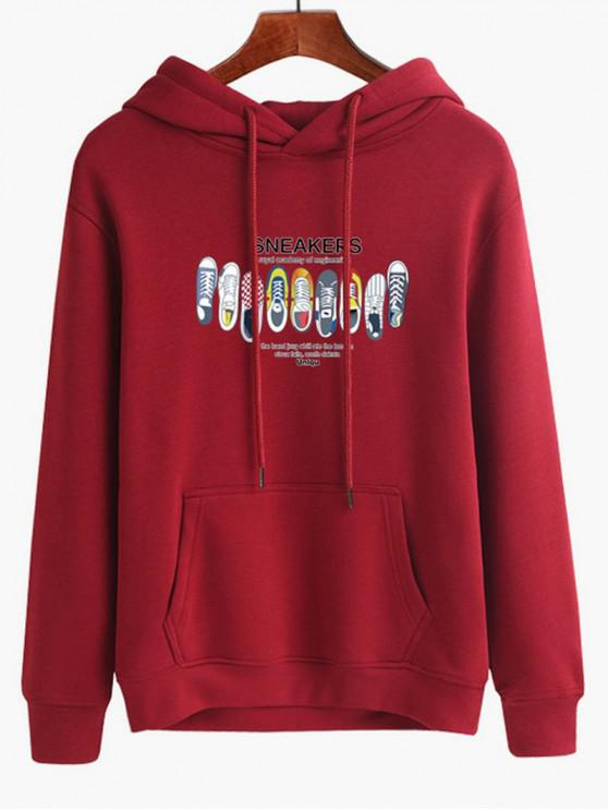 Sneakers Print Pouch Pocket Hoodie - Roter Wein M
