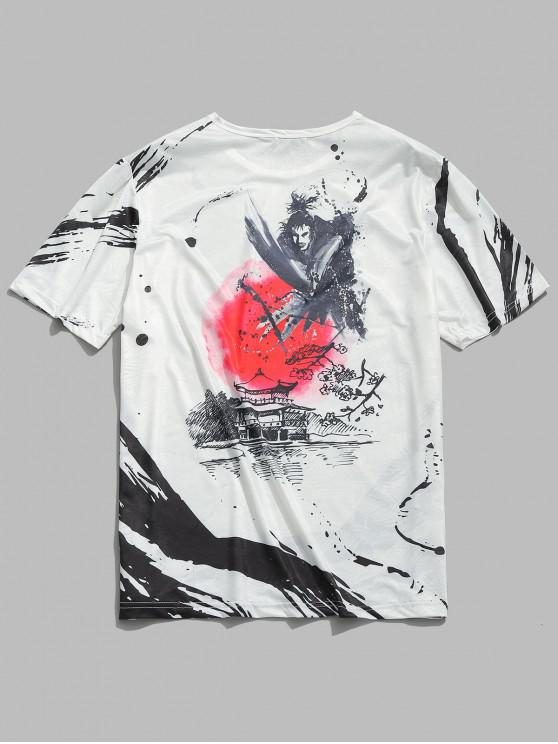 fancy Chinese Wash Painting Print Smooth Tee - WHITE M