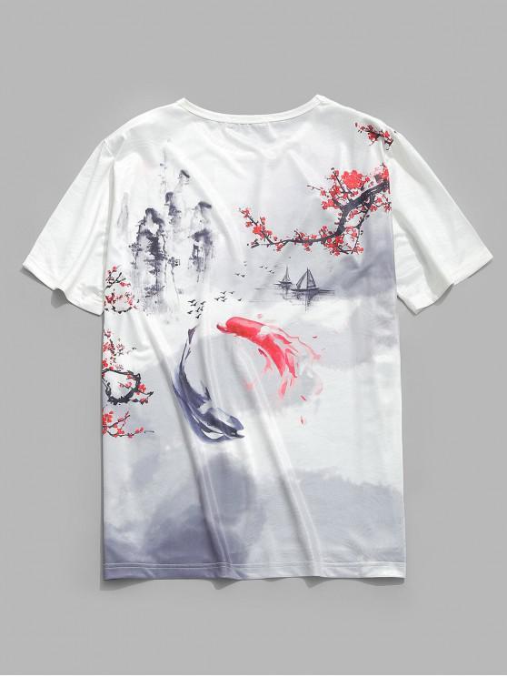 Glattes grafisches T-Shirt mit Tinte und Wäsche - Weiß XL