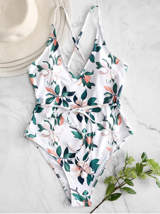 shop ZAFUL Plant Print Criss Cross Swimsuit - WHITE L