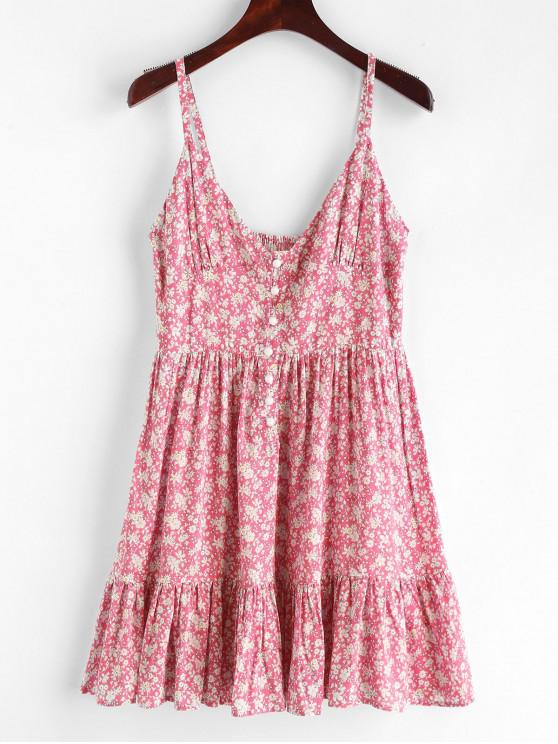 shop ZAFUL Ruffles Half Buttoned Floral Dress - FLAMINGO PINK S