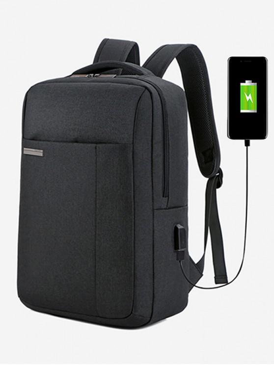 hot Large Capacity Canvas Laptop Backpack - BLACK