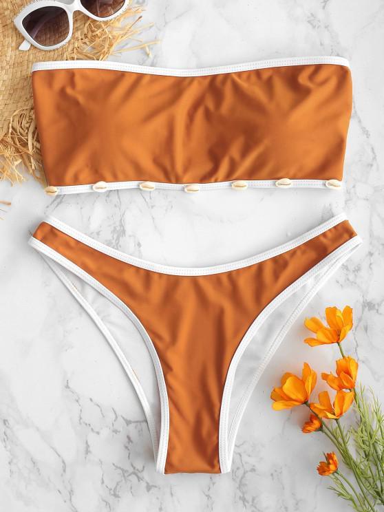 ZAFUL Shell Decorado Bandeau Bikini Set - Cor de Laranja de Tigre S