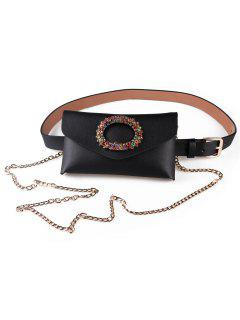 Rhinestone Inlaid Fanny Pack Belt - Black
