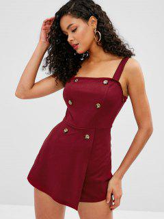 ZAFUL Buttons Embellished Overlap Romper - Red Wine M