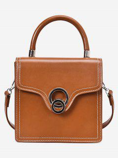 Double Circle Top Handle Crossbody Bag - Brown