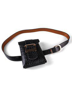 Textured Decoration Fanny Pack Belt - Black
