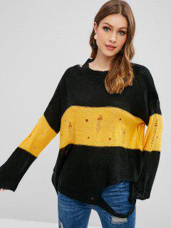 Suéter Rasgado De Túnica De Dos Tonos - Negro