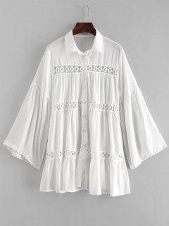 Crochet Panel Tunic Top - White