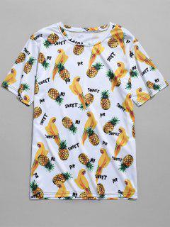 Pineapples Parrots Print T-shirt - Multi-e M
