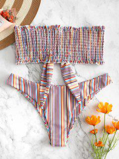 ZAFUL Colorful Striped Frilled Smocked Bikini Set - Multi-a M