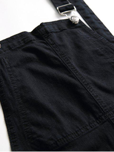 online Zip Fly Distressed Denim Jumpsuit - BLACK L Mobile