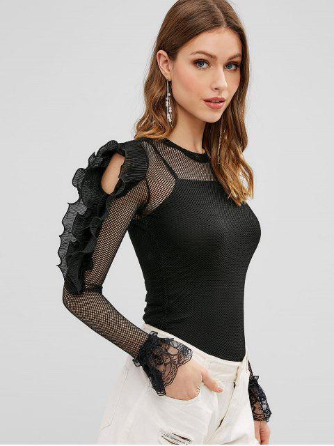 shops Fishnet Ruffle Lace Insert Blouse - BLACK ONE SIZE Mobile