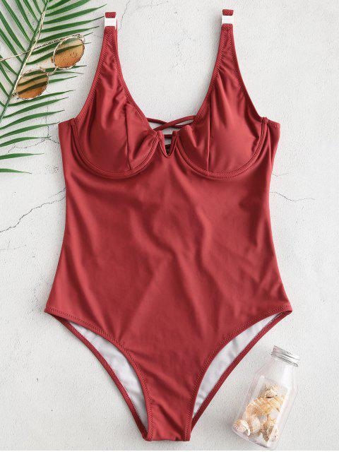 chic ZAFUL Lace-up Underwire Swimsuit - CHERRY RED S Mobile