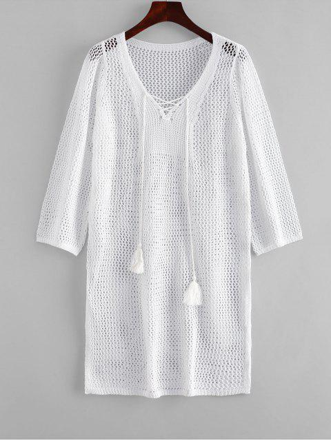 affordable Tassels Lace-up Crochet Dress - WHITE ONE SIZE Mobile