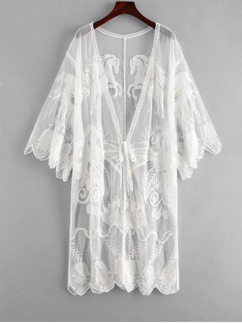buy Embroidered Tie Front Kimono - WHITE ONE SIZE Mobile