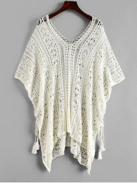 lady Side Lace-up Crochet Top - WARM WHITE ONE SIZE Mobile